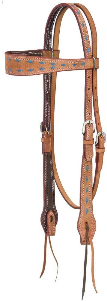 Tough-1 Headstall Medina Buckstitch Browband Brown Turquoise 45-2960