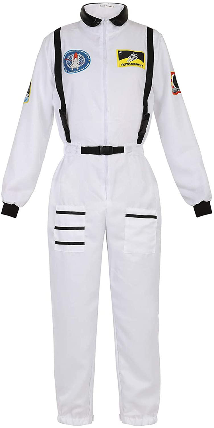 Zhitunemi Adult Halloween Astronaut Costume for Women Dress Up Clothes Space Fancy Jumpsuit Cosplay Onesie Costume