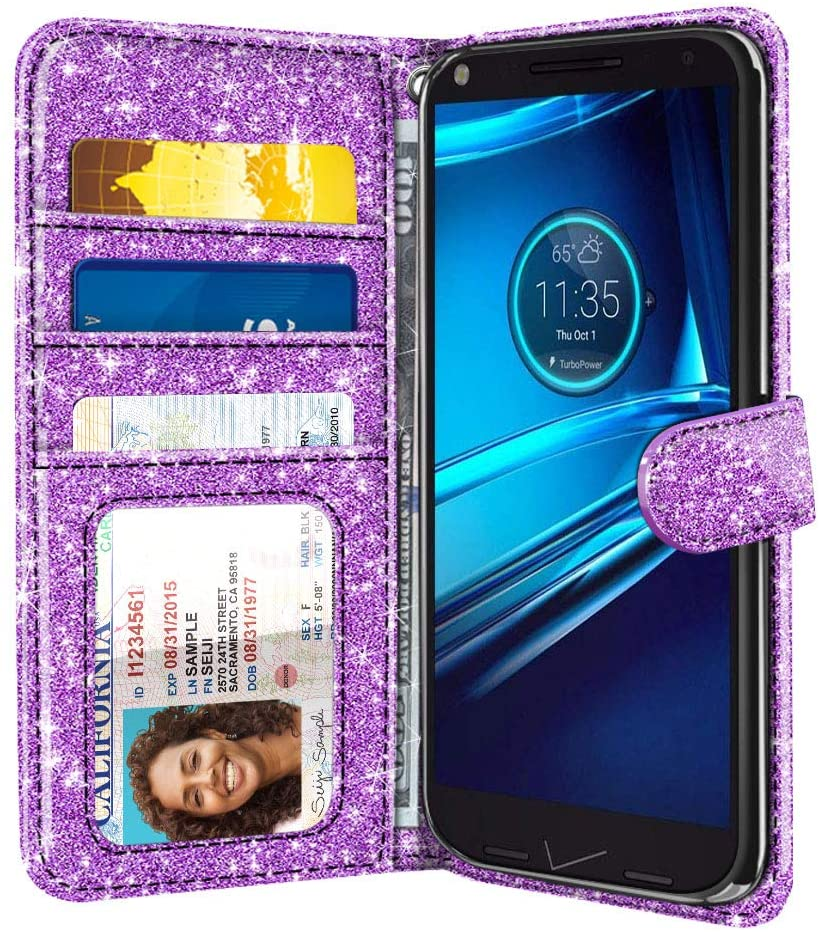 FINCIBO Case Compatible with Motorola Droid Turbo 2 Kinzie XT1585 X Force XT1580, Sparkling Glitter Pouch Cover Case + Card Holder Kickstand for Droid Turbo 2 (NOT FIT Droid Turbo) - Light Purple