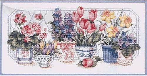 6 Flowers Egyptian Cotton Thread Counted Cross Stitch Kit 202x97stitch 14ct,46x28cm Flowers Cross Stitch Kits