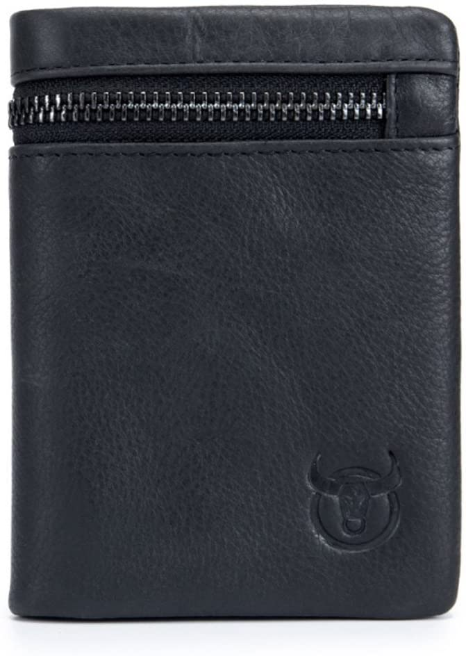 RFID Men's Genuine Leather Wallet, Bifold Multi Card Extra Capacity Wallet with Zippers (Black)