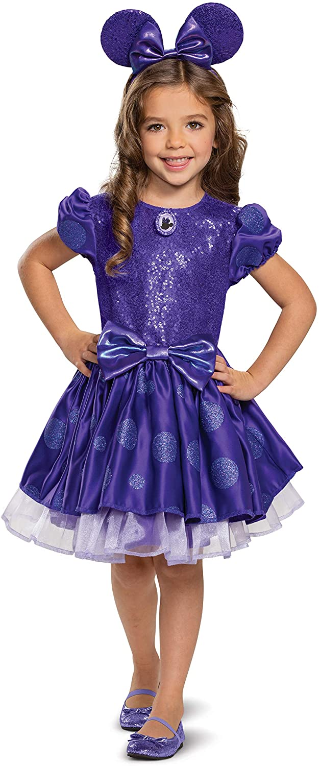 Disney Girls Minnie Mouse Costume, Potion Purple Deluxe Dress Up Outfit, Toddler Size Medium (3T-4T)
