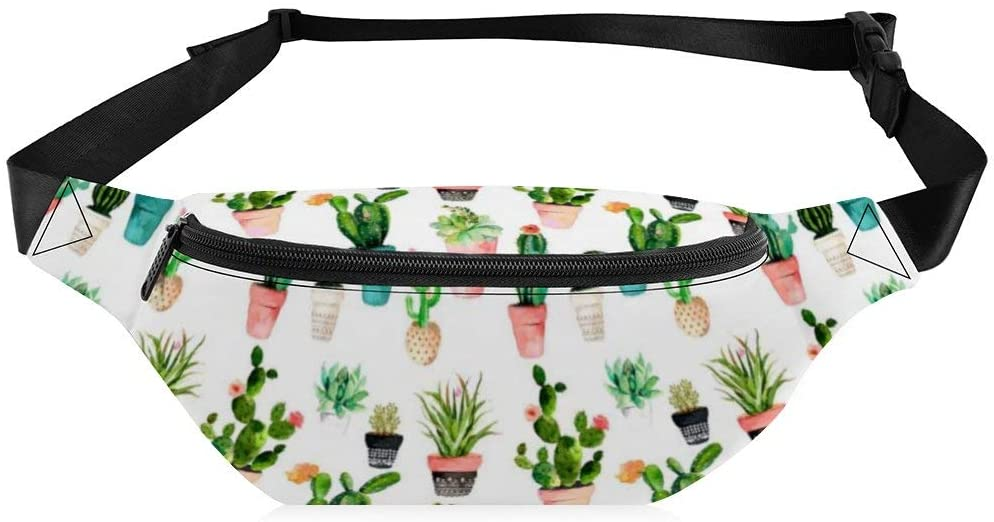Travel Waist Bag for Men Women Cactus and Plants Pattern Comfortable Crossbody Water Resistant Fanny Pack for Workout Outdoor Running