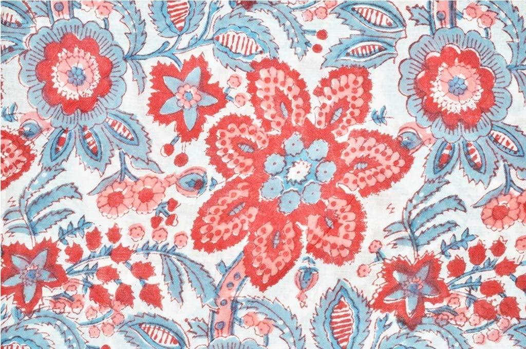 Big Flower & Leaf Design Printed Multicolor 100% Cotton Fabric 44