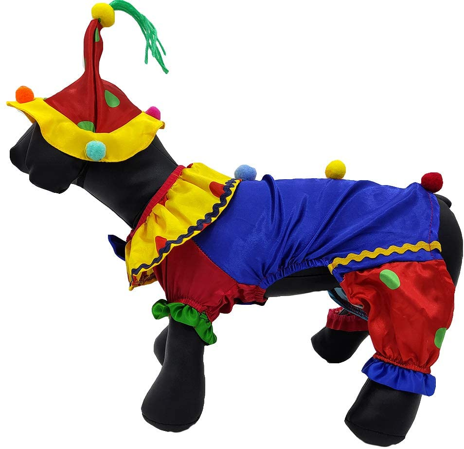 Yu-Xiang Pet Clown Costume Dog Funny Clothes Cat Hoodie Christmas Pet Dress Up for Teddy Pomeranian and Small Dogs
