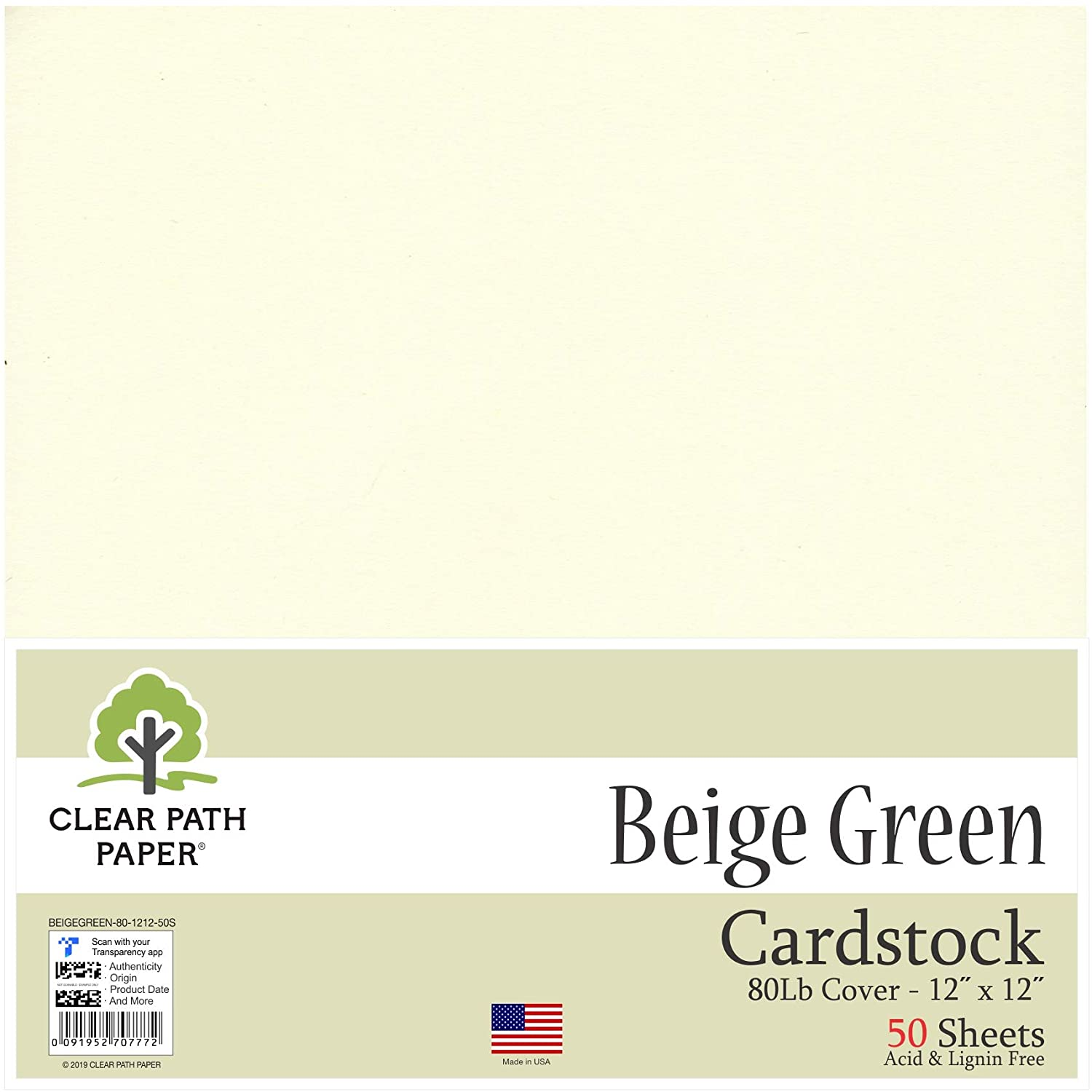 Beige Green Cardstock - 12 x 12 inch - 80Lb Cover - 50 Sheets - Clear Path Paper