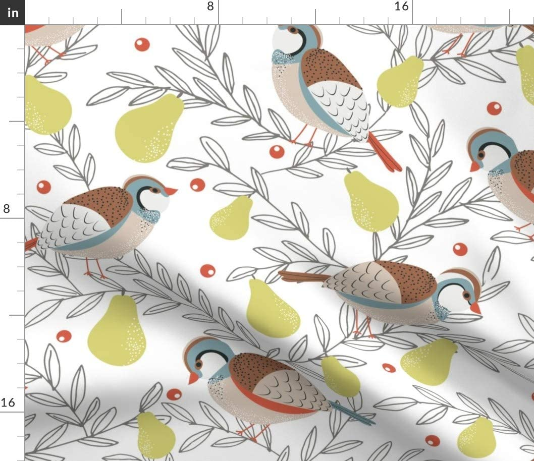 Spoonflower Fabric - Pear Tree Large Holiday Christmas Bird Rustic Printed on Cotton Poplin Fabric by The Yard - Sewing Shirting Quilting Dresses Apparel Crafts