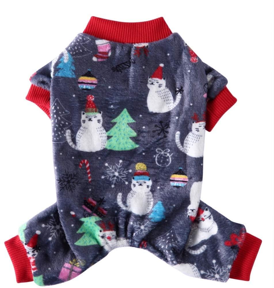 Norbi Pet Dog Soft Warm Sleepwear Christmas Outfits 4-Legged Cartoon Pattern Costume Cold Weather Jumpsuit