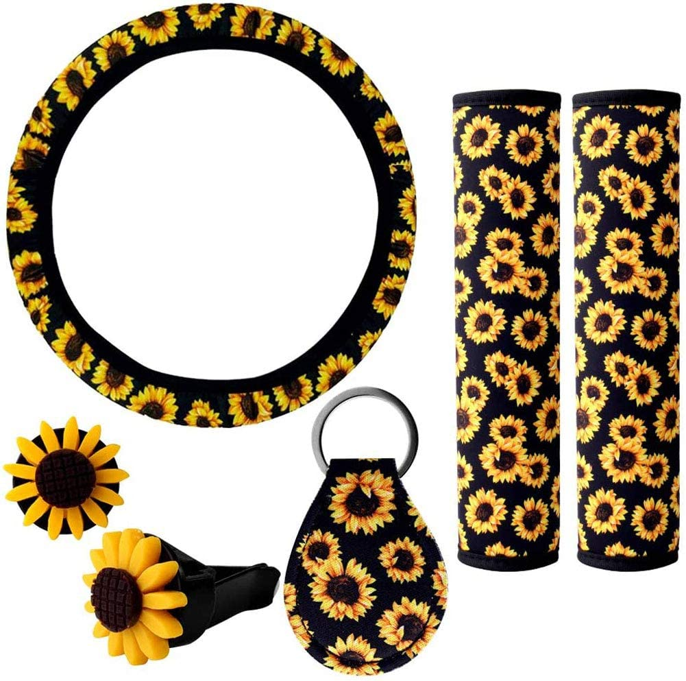 6PCS Sunflower Car Accessories Sunflower Steering Wheel Cover for Women and girls with Sunflower Steering Wheel Cover Sunflowers Keyring Car Vent Seat Belt