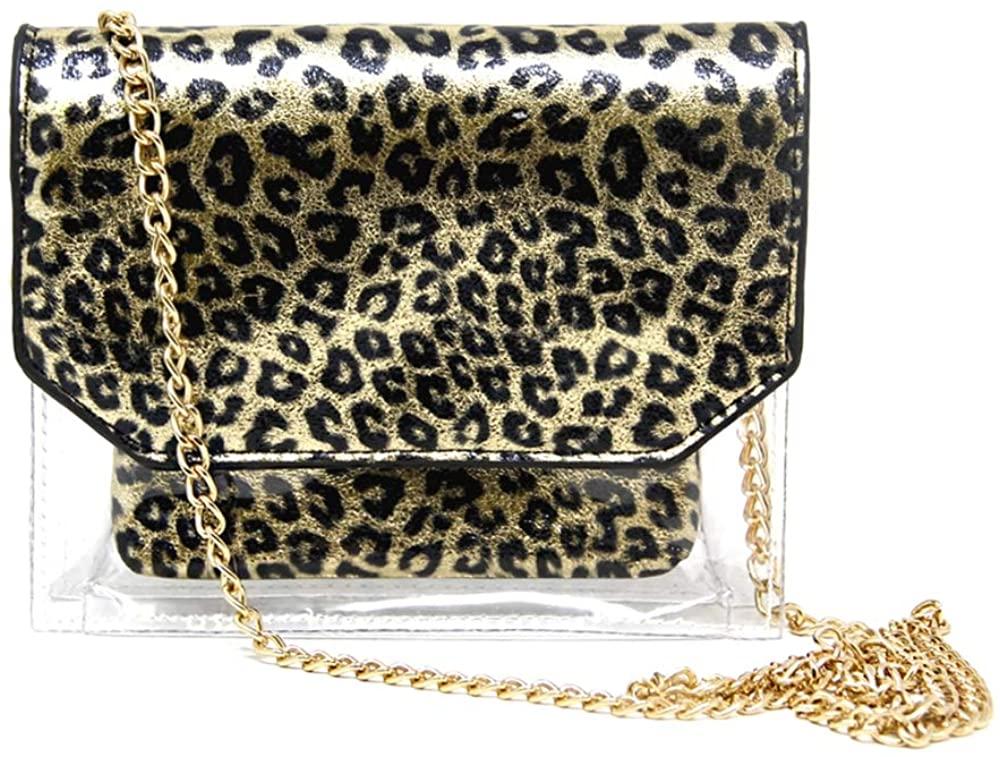 Me Plus Women Fashion 2 Pieces Set Clear PVC Leopard Print Small Cross Body Clutch Pouch Bag