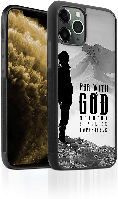Bufflo Graphics I iPhone 11 Pro Max Phone Case I TPU iPhone 11 Pro Max Case I Protective Tempered Glass Back I Bible Verse I Luke 1-37 I Mountain View