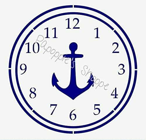 Stencil for Painting on The Wall Writing/Signage/Drawing/Decorate Fabric/Wood/Glass Craft DIY Clock Stencil Nautical Design Anchor 10.5 in Diameter
