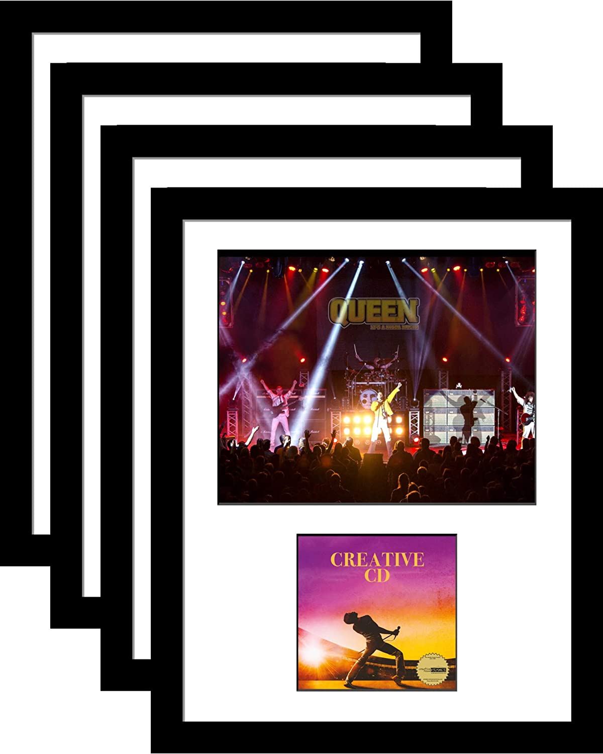 Creative Picture Frames 8 x 10 Photo CD Music Frame with White Matting Displays Picture and Jewel Cover Self Standing or Wall Display (Pack of 4)