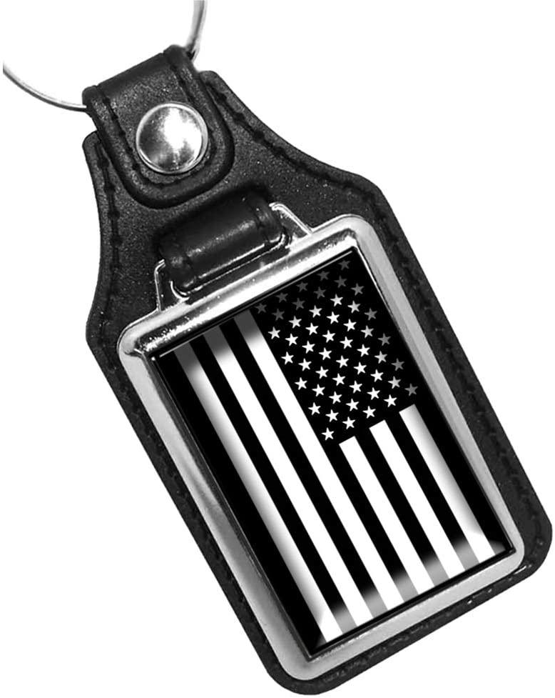 Brotherhood Subdued Black and White American Flag Keychain Key Holder Key Ring for Men Heavy Duty Car Keyring for Men and Women