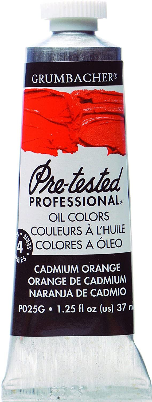 Grumbacher Pre-Tested Oil Paint, 37ml/1.25 Ounce, Cadmium Orange (P025G)