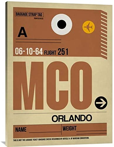 Naxart Studio 'MCO Orlando Luggage Tag I' Stretched Canvas Wall Art 24 inches x 32 inches