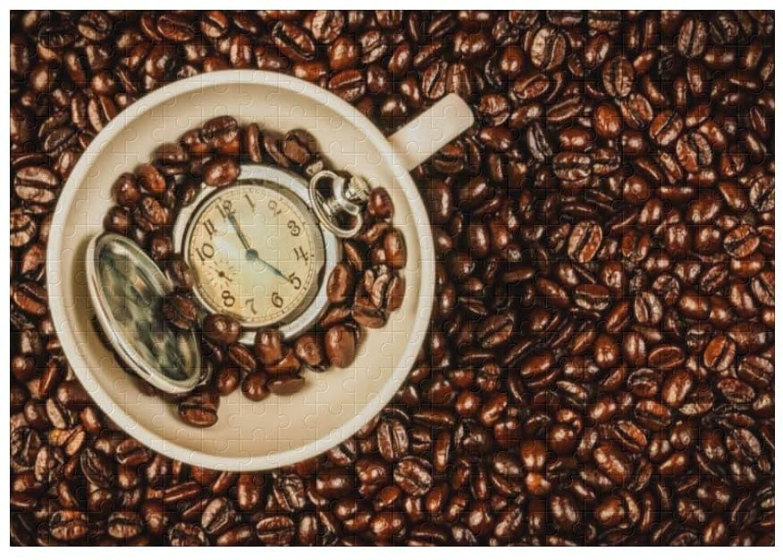 Coffee Beans Watch 300 Pieces Jigsaw Puzzle (15 in x 10 in) Toy for Adults Kids Educational Gift Home Decor