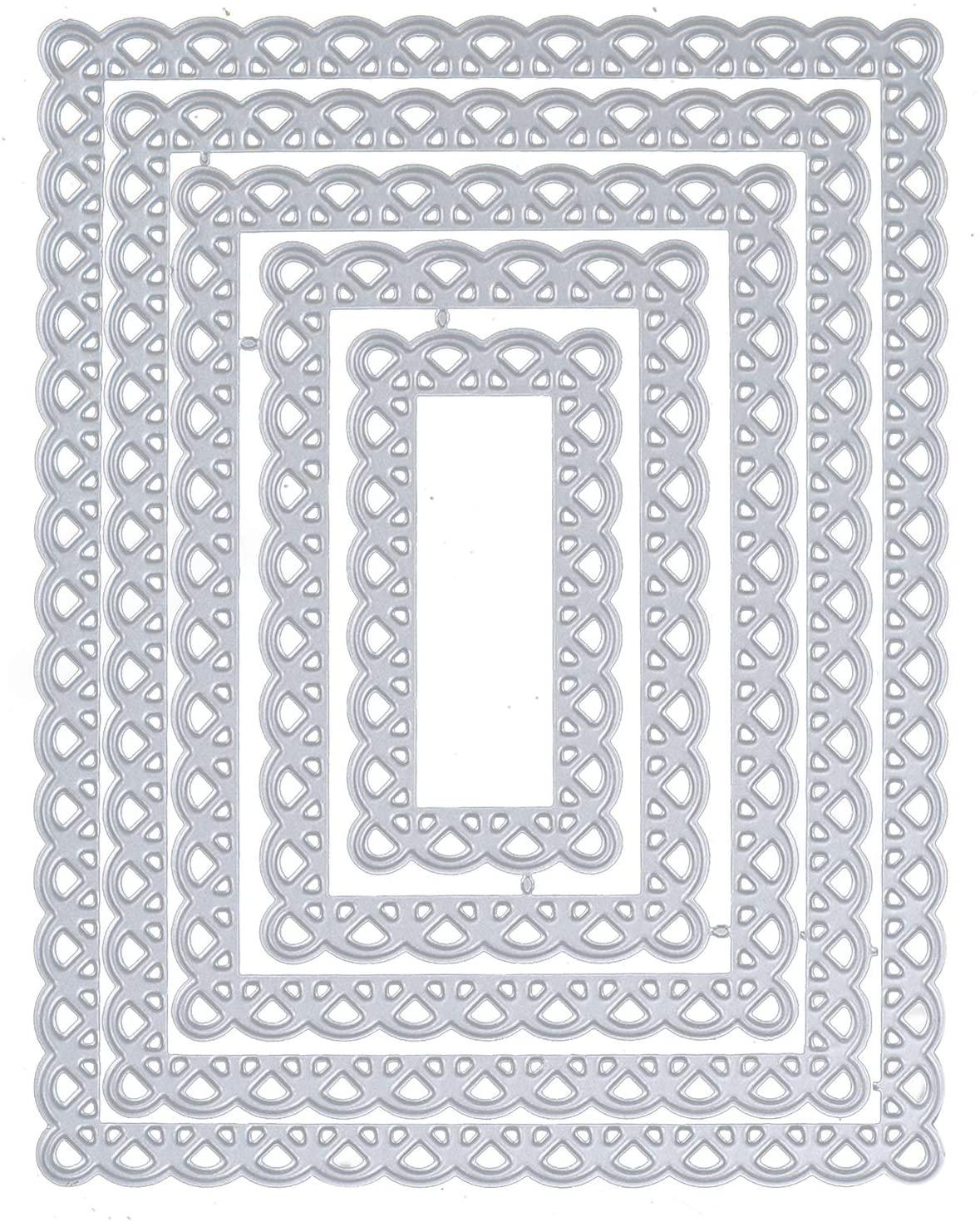INNKER 5PCS Die Rectangle Layering Cuts Metal Cutting Dies Stencil for Card Making Scrapbooking Album Paper Card Making DIY Crafts