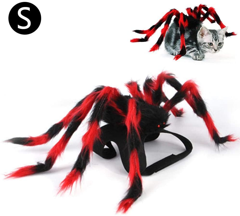 Window-pick Pet Halloween Costume Pet Spider Harness Costume Furry Giant Simulation Spider Pets Outfits Cosplay Dress up Costume Halloween Pets Accessories Decoration for Dogs Puppy Cats