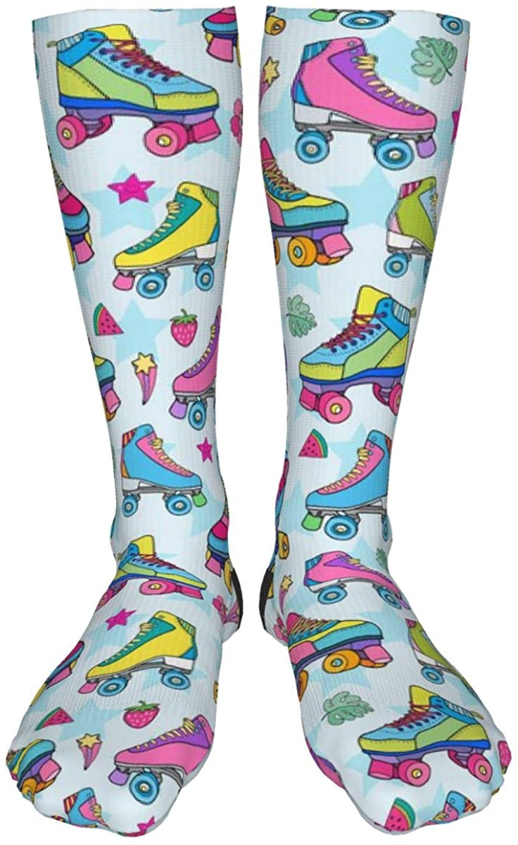 LASWEGA Colorful Roller Skates Crew Socks Stars Fruit Leaves Design Socks Men & Women Casual Cool Cute Crazy Funny Athletic Sport Colorful Fancy Novelty Graphic Crew Tube Socks