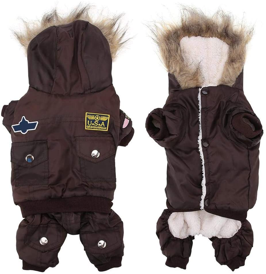 Semme Dog Winter Costume, Fashionable Hooded Pet Jumpsuit Warm Waterproof Dogs Puppies Clothes Winter Coat(M-Coffee)