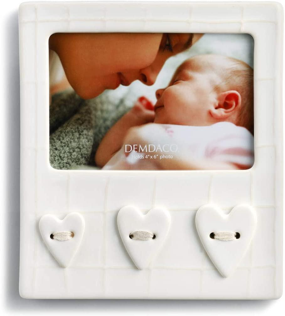 DEMDACO White Stripe Pride & Joy Heart 4 x 6 Photo Table Top Frame Holder
