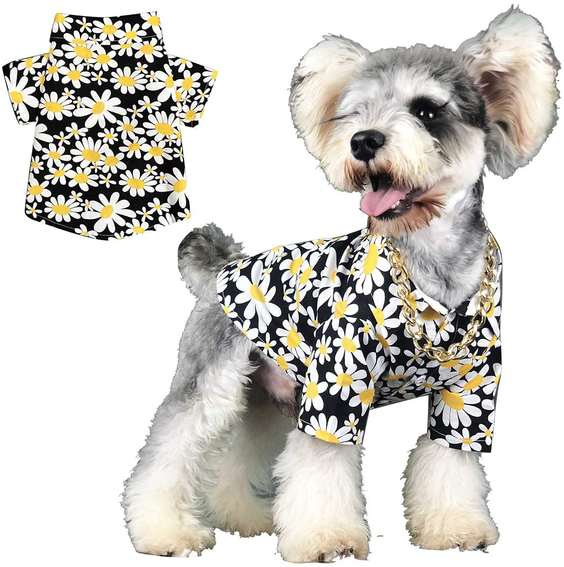 Yolispa Dog Shirt Pet Summer Floral Clothes Apparel Cotton for Small Puppy Medium Dog