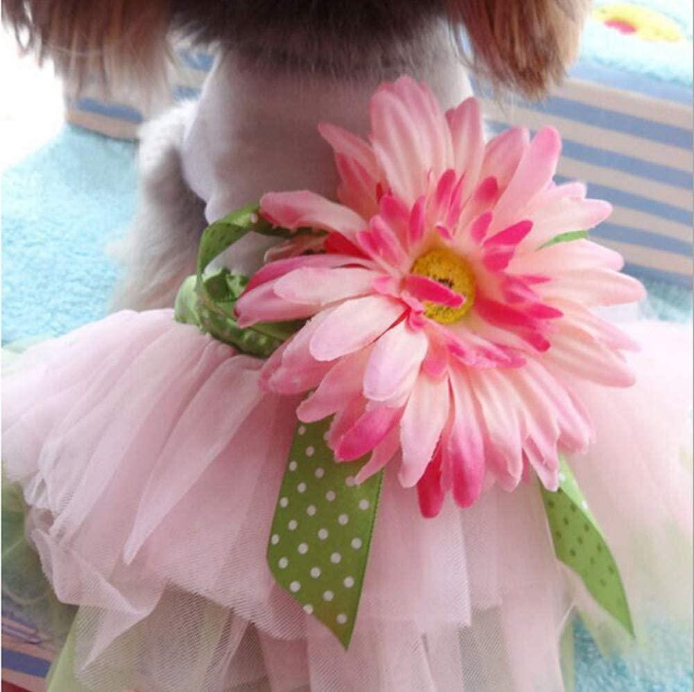 PIXRIY Dog Dress, Tutu Dog Dresses Puppy Princess Daisy Flower Gauze Skirt Clothes Pet Apparel Doggie Dress Vest for Small Dogs and Cats