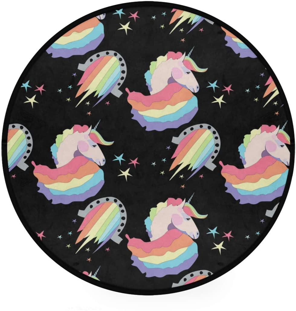 Cute Unicorn Soft Spa Polyester Round Bath Mat or Rug Place in Front of Shower, Vanity, Bath Tub, Sink, and Toilet, 36