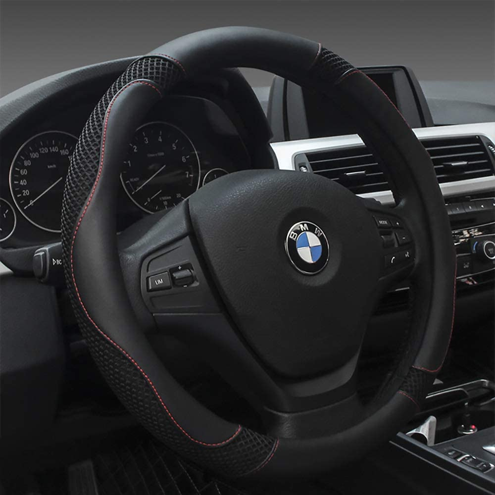 Black Luxury Steering Wheel Cover, Universa 15 inch Car Steering Wheel Cover for Women and Men, Microfiber Leather Viscose, Breathable, Anti-Slip,Warm in Winter and Cool in Summer