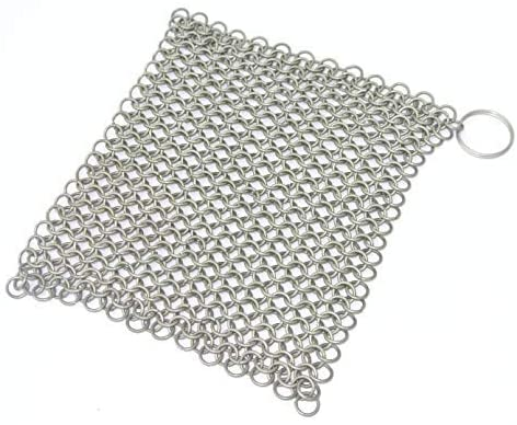 Mythrojan Chainmail Cast Iron Scrubber Cast Iron Maintenance Lodge Cast Iron Skillet Scrubber for Cast Iron Griddle Cast Iron Wok Scrapper Easy Cast Iron Cook Pot Cleaning Cast Iron Care 4''
