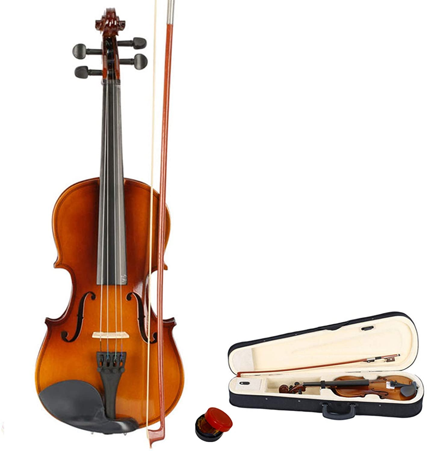 New 3/4 Acoustic Violin Case Bow Rosin Natural - Violin Set for Kids Beginners Students Adults