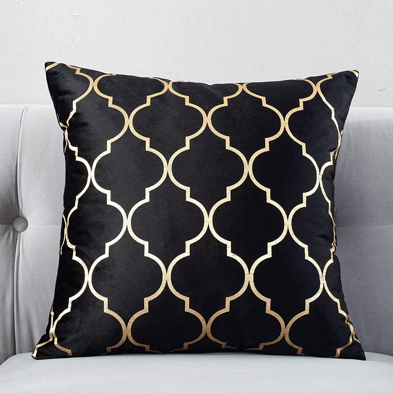 TAOSON Pack of 2,Moroccan Quatrefoil Geometric Bronzing Printed Cozy Soft Throw Pillow Cases Cushion Covers Shells for Sofa Couch Bed Home Decoration 18 x 18 Inches, Black and Gold