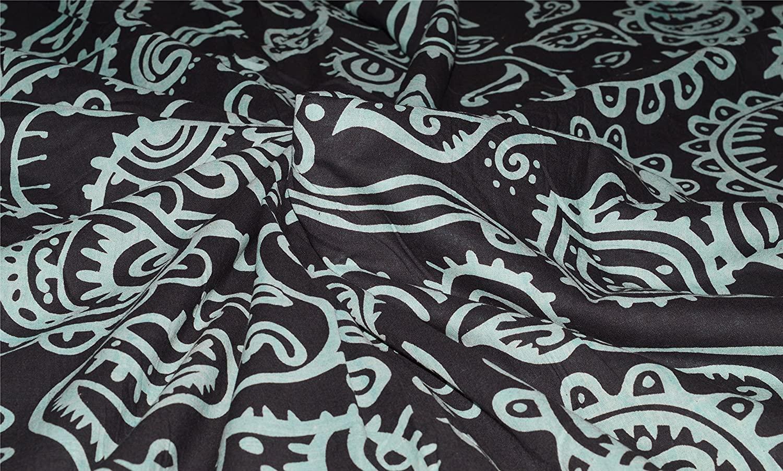 Black and White Color Pure 100% Cotton Dabu Print 44