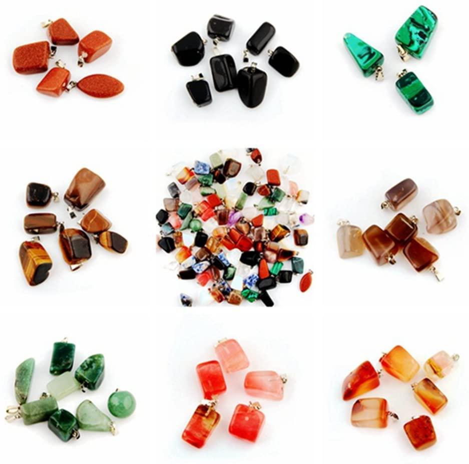 Healing Stones Pendants Irregular Healing Crystal Chakra Gemstone Point Wholesale Quartz Rock Quartz Charms Pendants for Necklace Jewelry Making (100pcs)