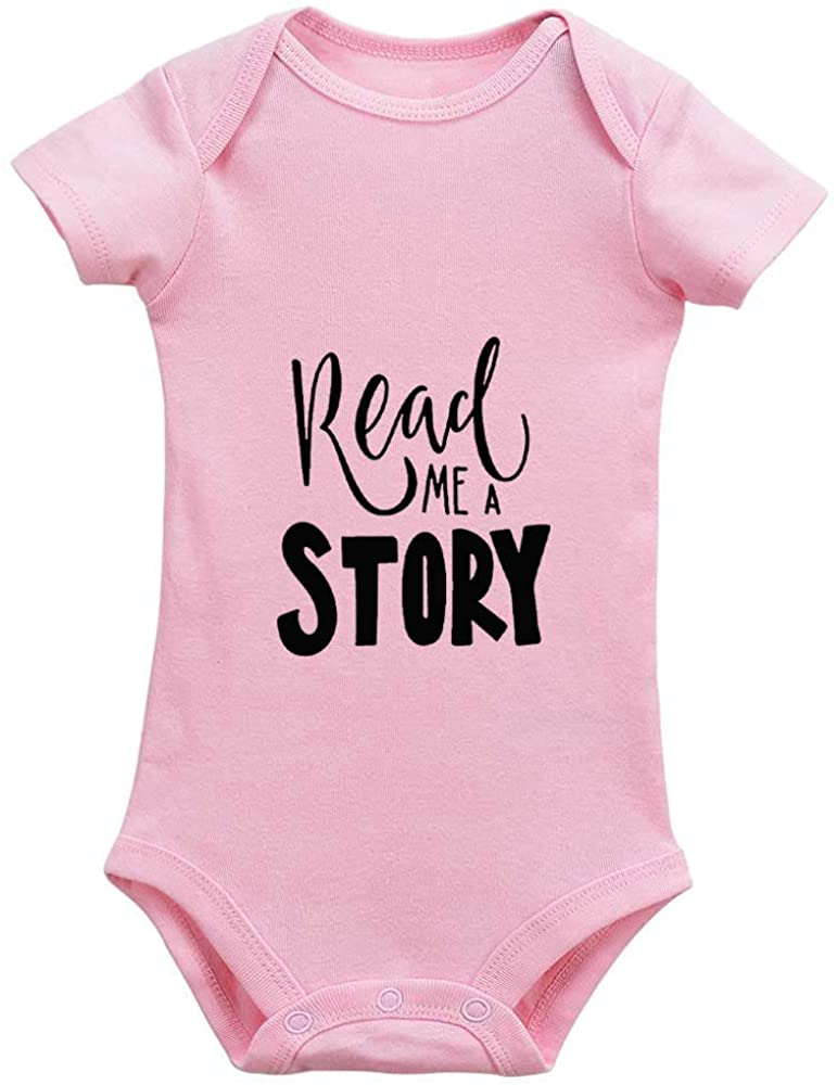 Eeypy Read me a Story!Cute English The First Piece Baby Boy Girl Clothes T-Shirt Cotton Bodysuit Romper Jumpsuit 18-24 Month