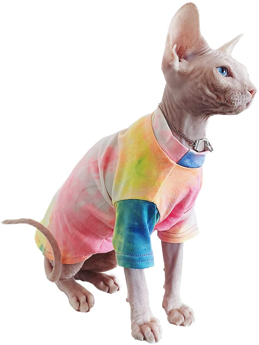 Bonaweite Hairless Cats Rainbow Rendering T-Shirt for Spring Summer Autumn, Breathable Cat Wear Clothes Vest Shirts for Sphynx, Cornish Rex, Devon Rex, Peterbald