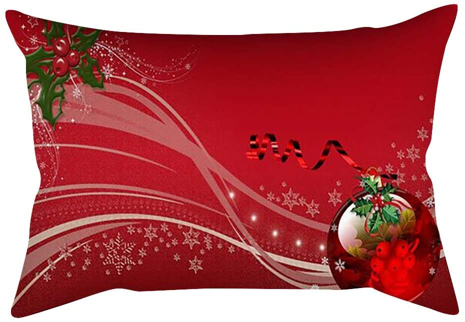 minikamo Christmas Pillow Covers,11.8x19 inch Pillow Cases Santa Claus Merry Christmas Flower Pattern Cotton Linen Throw Cushion Cover Home Decoration (r)
