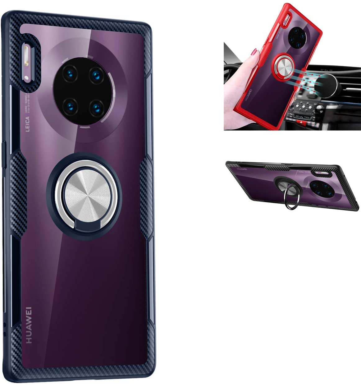 GarHold Huawei Mate 30 Pro case,Silicone Shockproof TPU+PC,Transparent Tempering Protection Cover,360° Rotating Metal Ring Kickstand,car Holder case,for Huawei Mate 30 Pro (Navy/Silver)