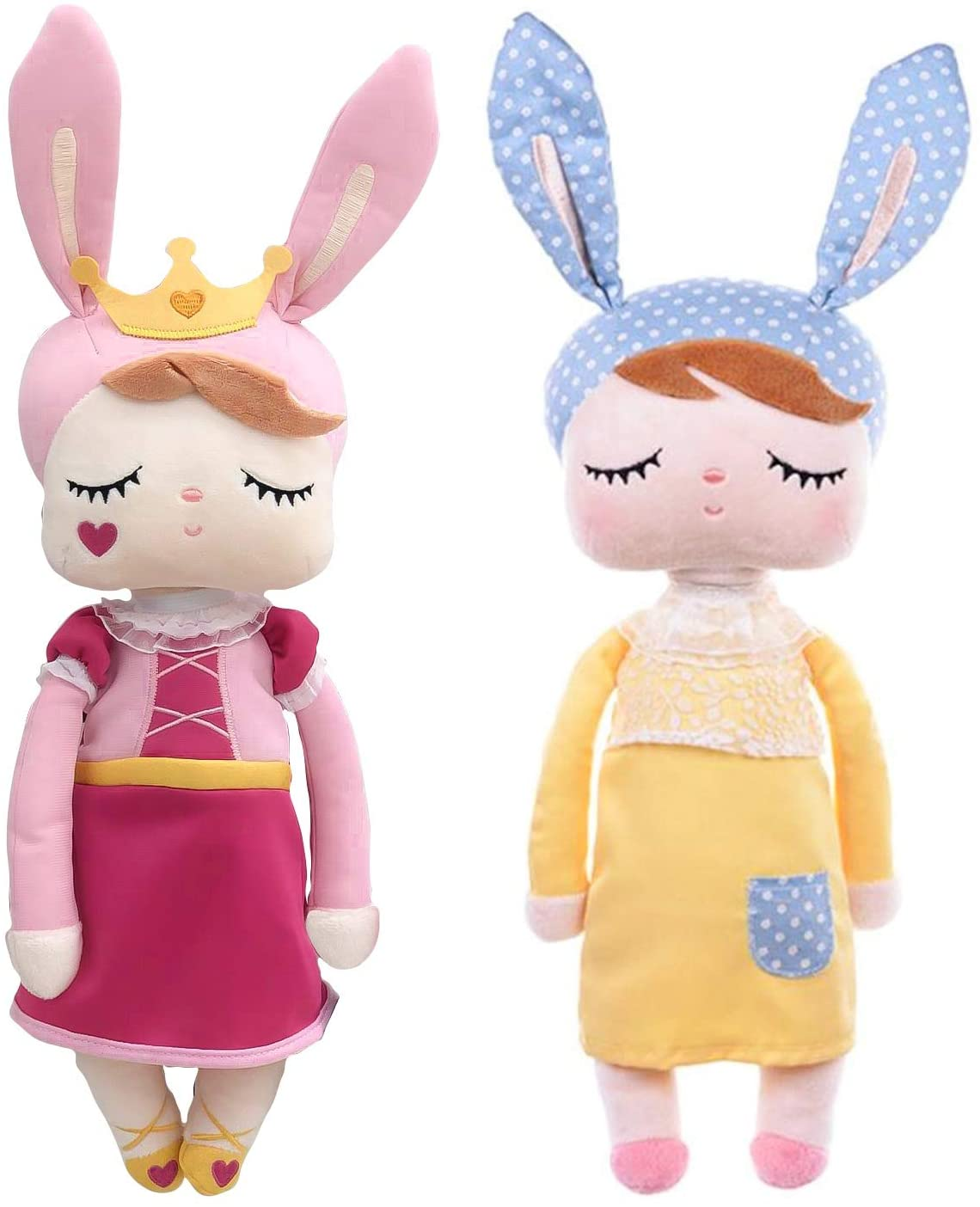 2 MeToo Doll Angela Vintage Super Soft Plush Stuffed Bunny Doll Baby Girl Rabbit Retro Style I Kids Idea I Baby Girl's Sleeping Partner I Best Friend (Princess - Yellow)