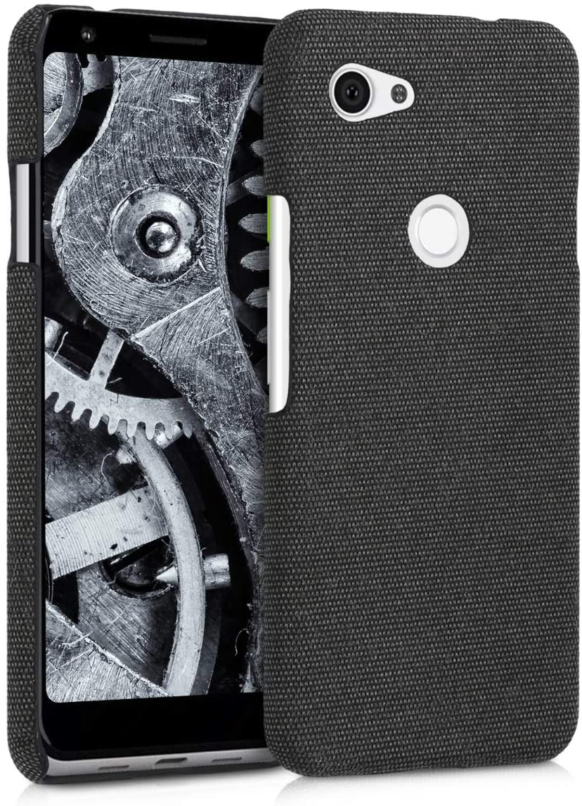 kwmobile Case Compatible with Google Pixel 3a - Fabric Protective Canvas Back Cover - Dark Grey