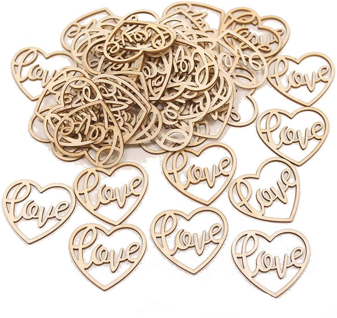 50PCS Wood Hearts Slices Wooden Discs Heart Shaped Embellishment for Wedding Decor Arts Crafts DIY Photo Album Decoration