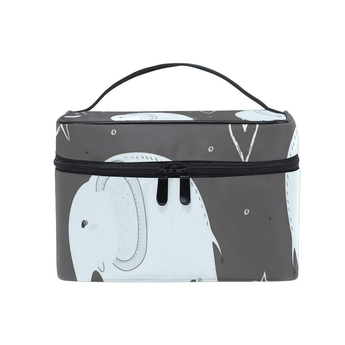 SAVSV Large Cosmetic Makeup Travel Organizer, Elephant Pattern Toiletry Bag Storage Bags Portable Multifunction Case for Women Girls