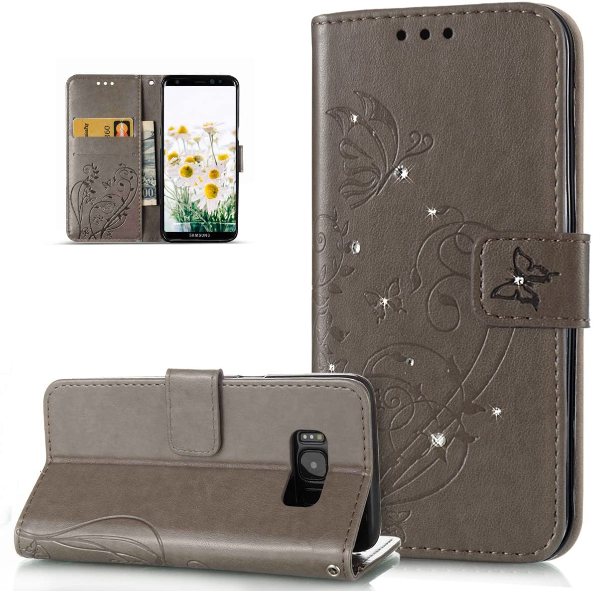 Galaxy S8 Plus Case,Galaxy S8 Plus Cover,Bing Glitter Diamond Embossing Flower Vines Butterfly Flip Folio Wallet Case PU Leather Stand Protective Case Cover for Samsung Galaxy S8 Plus,Gray