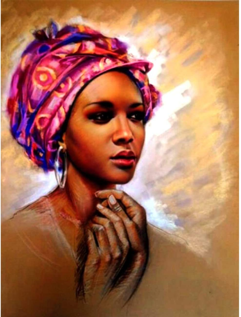 Diamond Painting African Women's Hands Full Drill by Number Kits, SKRYUIE DIY Rhinestone Pasted Paint with Diamond Set Arts Craft Decorations (12x16inch)