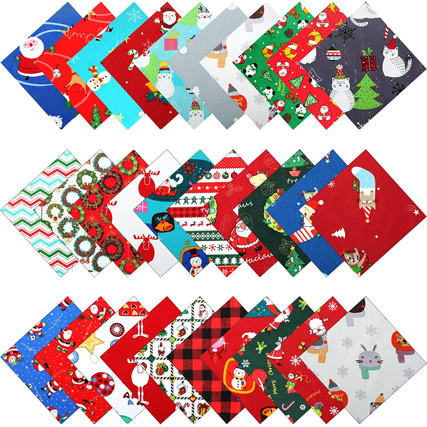 30 Pieces 10 x 10 Inch Christmas Cotton Fabric Bundles Square Sewing Precut Patchwork Printed Fabric Scraps for DIY Christmas Stocking Tree Wreath Doll Dress Apron Quilt Coaster