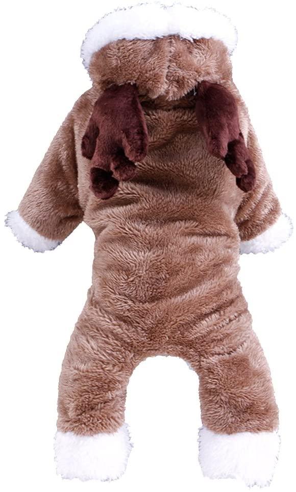 UEETEK Dog Fleece Hoodie Pet Cold Weather Coats Pet Dog Costume Jumpsuit (Coffee)
