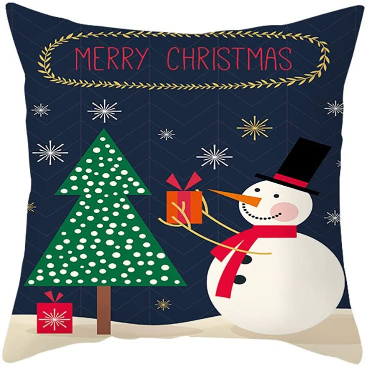 Elero Throw Pillow Covers Cotton Linen Cushion Case for Home Couch DecorHappy Christmas Happy New Year Autumn Pillowcase 18x18