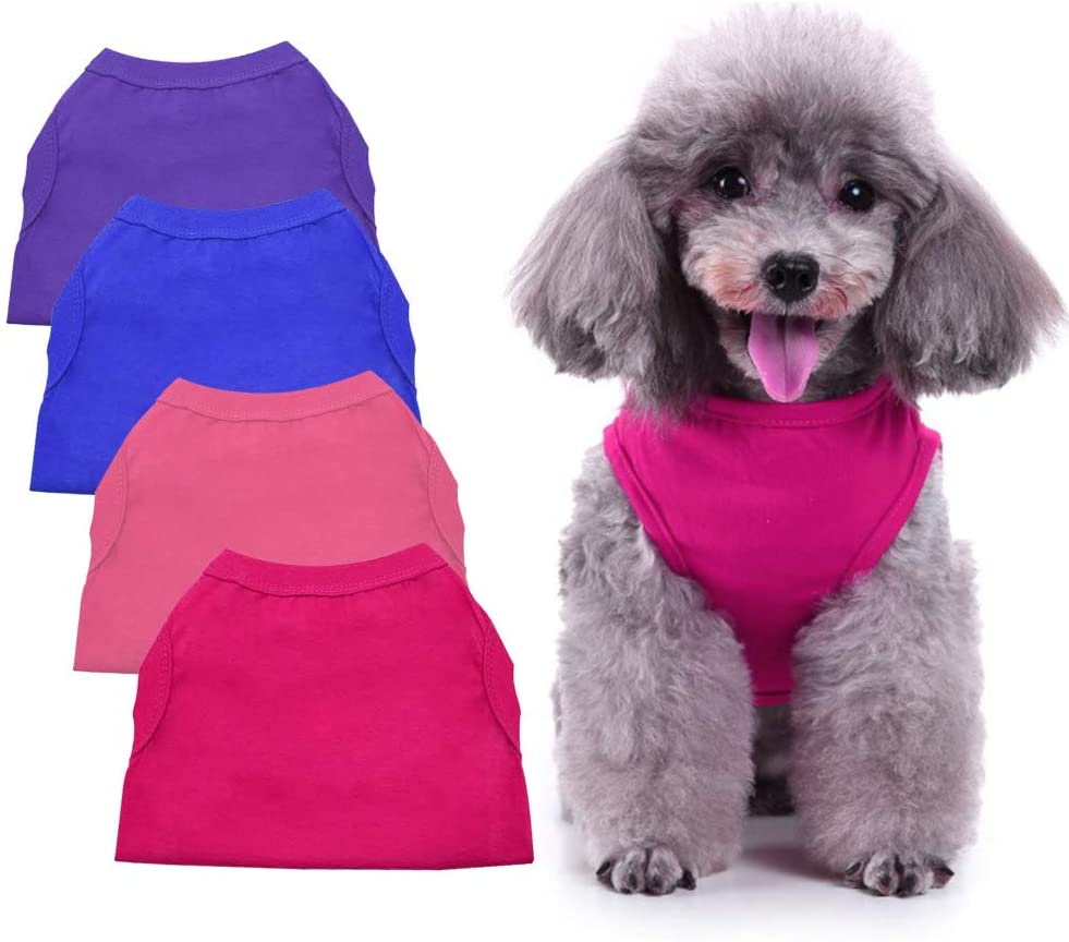 Chol&Vivi Shirts for Dog, Plain Dog T Shirt Vest Clothes Soft and Thin, 4pcs Blank Shirts Clothes Fit for Extra Small Medium Large Extra Large Size Dog Puppy, Shirts for Dog