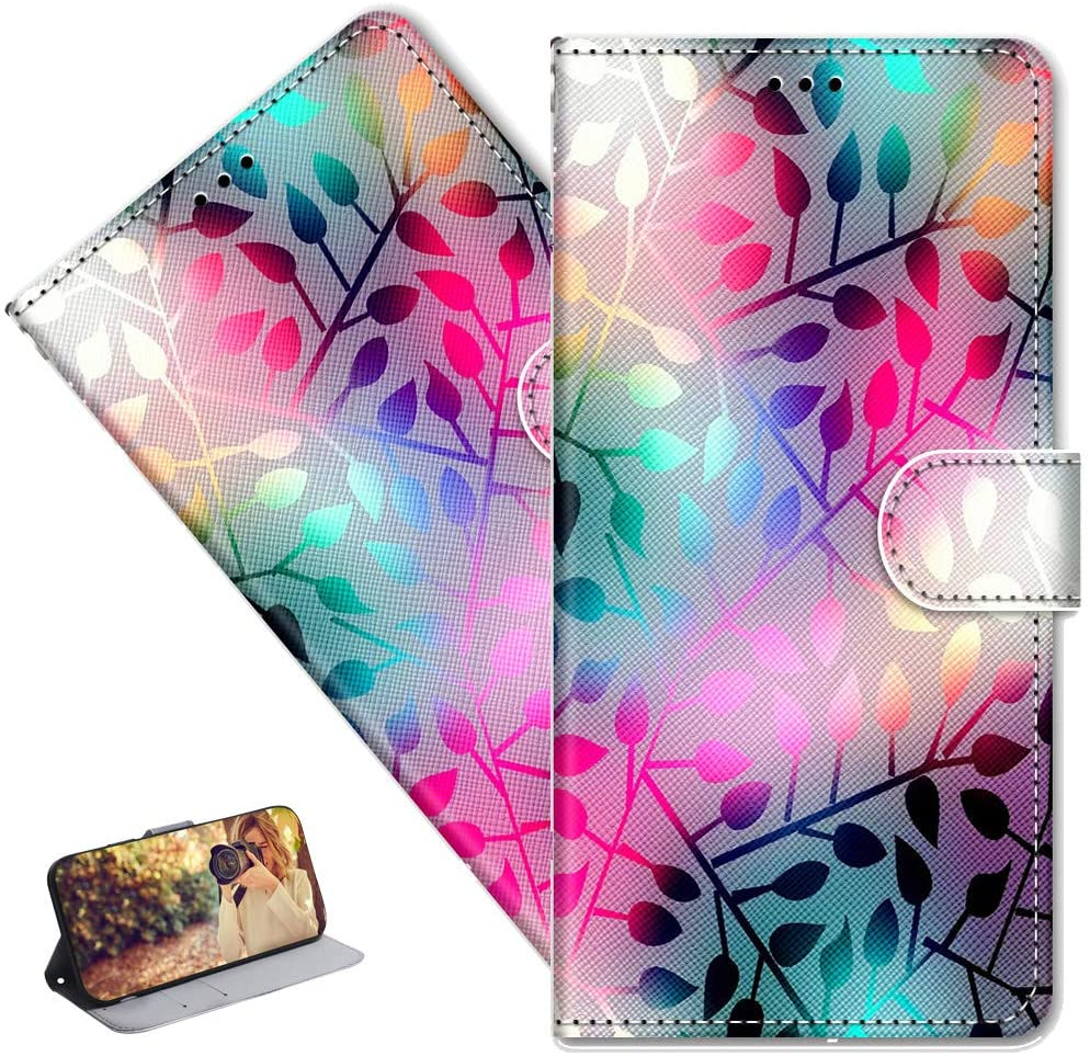 MRSTERUS Moto G7 Play(EU Version) case Creative Cute Painted Pattern Design PU Leather flip Notebook Wallet Protective Cover Magnetic Stand Slot Bumper Box for Moto G7 Play Colored Leaves DK